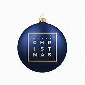 Christmas Greetings Sticker or Banner. Blue Ball on Transparent Background