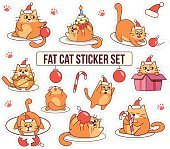 Fat cat sticker set for Christmas and New year holidays