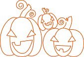 Happy pumpkins. Halloween design card template.