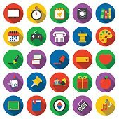 Education icons set. School, Study collection icon in flat. University,