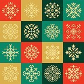 Pixel Christmas Snowflakes Set for Winter Holidays Decoration