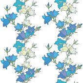 Seamless pattern with bellflowers. Floral ornament