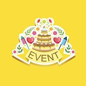 Event Template Label Cute Sticker With Cake And Fireworks