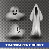 Ghost silhouette isolated on transparent background. Vector illustration.