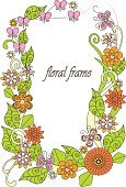 Colorful hand drawn flowers frame