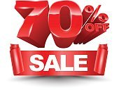 70 percent off sale red ribbon banner roll.