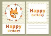 Card for birthday with cute squirrel