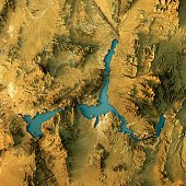 Lake Mead Topographic Map Natural Color Top View