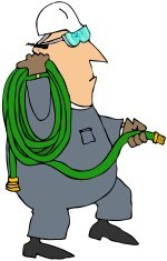 Worker Carrying A Coiled Garden Hose