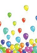 Many flying colorful balloons