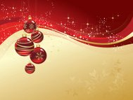 christmas greeting with red balls