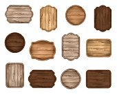 Wooden stickers, label, sign board, badge, banner vector collection.