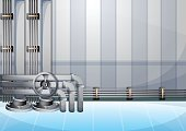 cartoon vector illustration water pipe wall with separated layers