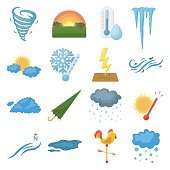 Weather set icons in cartoon style. Big collection weather vector