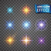 Lens glow effect. Glowing light glare, bright realistic lighting effects