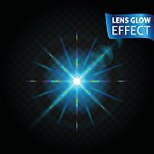Lens glow effect. Glowing light reflections, realistic bright  effects blue