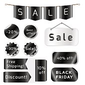Black friday sale tags isolated On White Background.