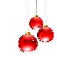 Three hanging red glass baubles