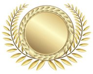 Golden laurel wreath with medal