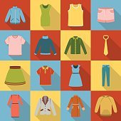 Clothes set icons in flat style. Big collection clothes vector