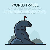 Travel, journey, trip vector logo design template.