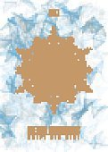 Christmas Poster. Big Snowflake on Ice Background. Vector illustration of