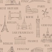 Travel seamless doodle pattern. Vacation in Europe wallpaper. Famous landmarks