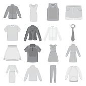 Clothes set icons in monochrome style. Big collection of clothes
