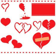 Set of Various Valentine Hearts whole and broken (vector)