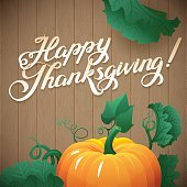 Happy Thanksgiving day leaves and pumpkin banner on wood background