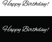 Happy birthday banner on a black and white background
