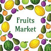 Fruits market decoration element with fruit icons