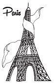 Eiffel Tower in Paris vector illustration, hand drawn famous french