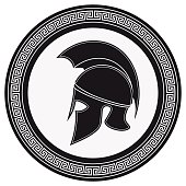 Ancient Greek Helmet with a Crest on the Shield