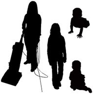 Lady, Pre-Teen, Babies Silhouette (vector illustrations)
