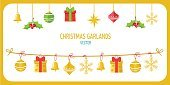 Christmas Garland Vector In Gold Color. Winter Holidays Vector.