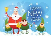 Smiling Santa Claus And Christmas Elf Group With Holiday Present