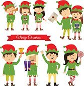 Christmas elves, helpers of Santa Claus, vector