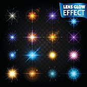 Lens glow effect. Big set of light effects