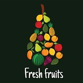 Fresh fruits label with flat fruit icons