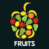 Apple fruit shape with fruits icons