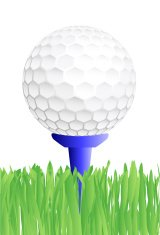 Golf ball on a tee - VECTOR