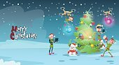 Green Elf Group Decoration Christmas Tree With Drone Wear Virtual