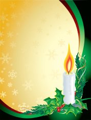 Christmas Candle Holly green, Gold, Vertical Background
