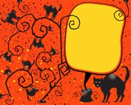 Halloween Surrealistic Background With Black Cats