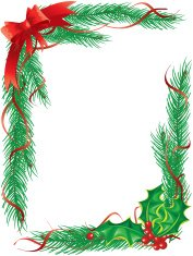 Pine Garlands and Holly Christmas Ribbon Frame Vertical