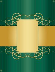 Floral Swirl Background Design - Emerald Green and Shiny Gold