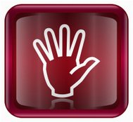 hand icon dark red, isolated on white background