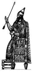 Assyrian Ruler Enthroned | Antique History Illustrations