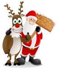 Santa and Rudolf with a 'Merry Christmas' sign